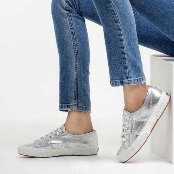 Superga Metallic Silver Sneakers Shoes